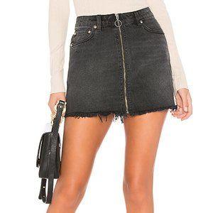Free People Zip It Up Mini Jean Skirt
